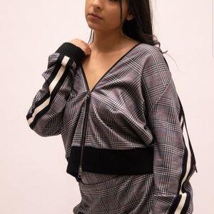 PAM & GELA Glen Plaid Zip-Up Track Jacket Medium